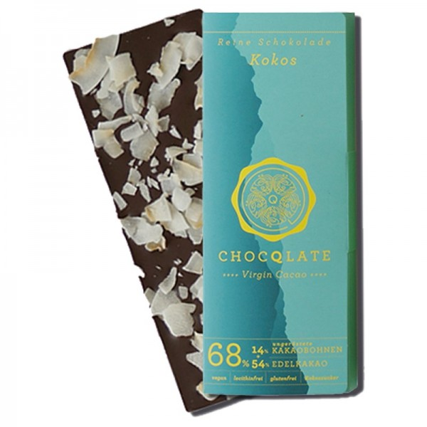 Virgin Cocao - Schokolade Kokos Chocqlate 63% Kakaobohnen