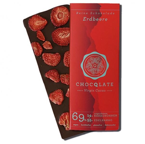Virgin Cocao - Vegane Bio Schokolade Erdbeere Chocqlate 69% Kakaobohnen