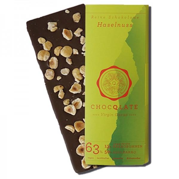 Virgin Cocao -Vegane Bio Schokolade Haselnuss Chocqlate 63% Kakaobohnen