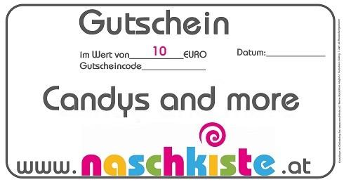 10 € Geschenks-Gutschein Candys and more von Naschkiste für außergewöhnliche Naschwaren