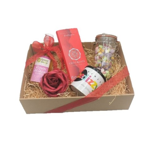 Geschenkkiste Muttertag Ostern Rosensirup, Schokolade, Zuckerl, Alkoholische Fruchtgummi Naschbox