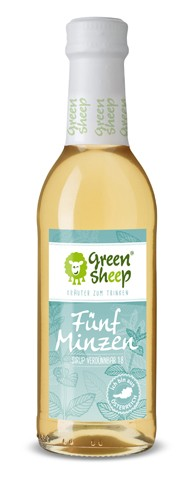 Bio Fünf Minze Kräuter Sirup vom Hersteller Green Sheep Blüten zum trinken 250 ml