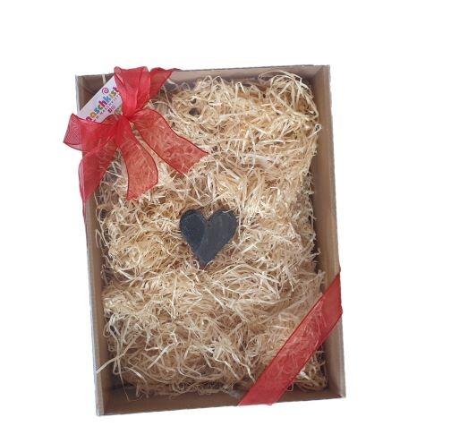 Geschenkbox Naschkisterl Geschenkkarton mit Schieferherz zum selbst befüllen