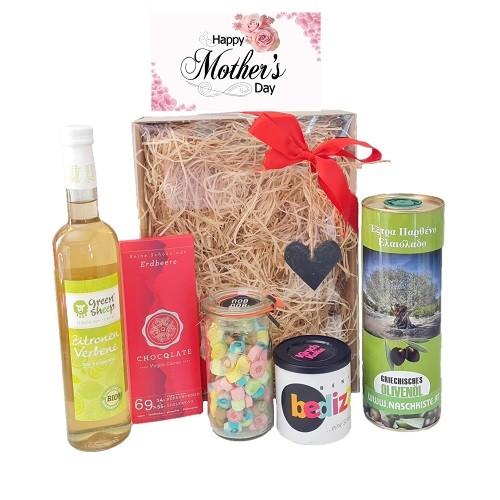 MAMA Geschenkset zum Muttertag Mit Karte, Olivenöl. Schokolade, Zuckerl, Bedizzy, Sirup Genussbox