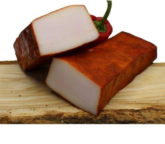 Bio Wollschwein Speck vom Mangalitza mit Paprika aus Österreich Lardo aus dem Mühlviertel