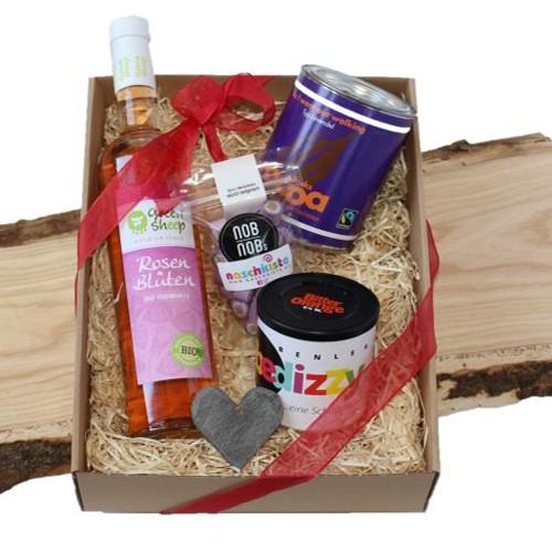 Naschkisterl Rosenblütensirup 500ml,Alkoholische Fruchtgummi, Lavendel-Kakao, Bonbons, Weihnachts-Geschenkbox