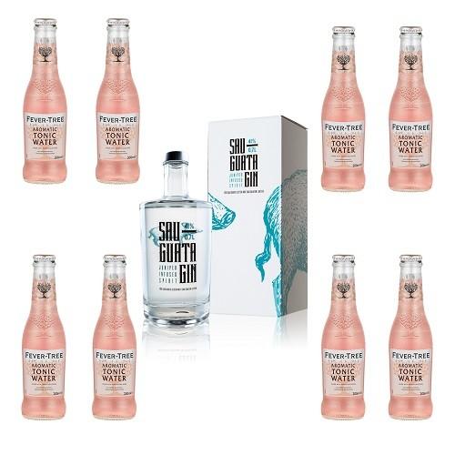 Kombiangebot SAUGUATA GIN 41% 0,7l + 8x Aromatic Tonic Water 0,2l