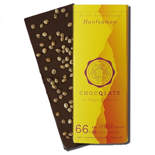 Virgin Cocao - Vegane BIO Schokolade Hanfsamen Chocqlate 63% Kakaobohnen